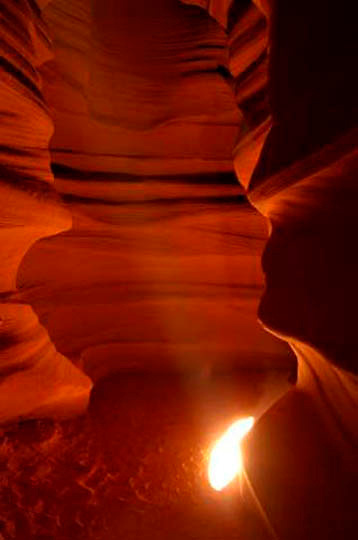 Stream of light  through Upper Antelope Canyon, Slot Canyons near Lake Powell, Page, Arizona.