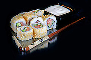 An assortment of insideout Sushi to be served
