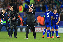 14th March 2017 - UEFA Champions League - Round of 16 (2nd Leg) - Leicester City v Sevilla - Leicester caretaker manager Craig Shakespeare applauds the support after the match - Photo: Simon Stacpoole / Offside.