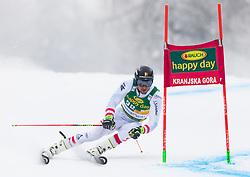 Johannes Strolz of Austria during 1st run of Men's Giant Slalom race of FIS Alpine Ski World Cup 57th Vitranc Cup 2018, on 3.3.2018 in Podkoren, Kranjska gora, Slovenia. Photo by Urban Meglič / Sportida