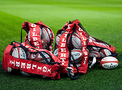 A general view of training balls<br /> <br /> Photographer Simon King/Replay Images<br /> <br /> Six Nations Round 5 - Wales v Ireland Captains Run - Saturday 15th March 2019 - Principality Stadium - Cardiff<br /> <br /> World Copyright © Replay Images . All rights reserved. info@replayimages.co.uk - http://replayimages.co.uk
