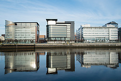 Modern office buildings at Broomielaw beside River Clyde in Glasgow United Kingdom