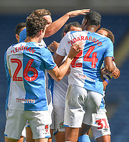 Blackburn Rovers' Tosin Adarabioyo is congratulated on scoring his team's 2nd goal<br /> <br /> Photographer Dave Howarth/CameraSport<br /> <br /> The EFL Sky Bet Championship - Blackburn Rovers v Bristol City - Saturday 20th June 2020 - Ewood Park - Blackburn<br /> <br /> World Copyright © 2020 CameraSport. All rights reserved. 43 Linden Ave. Countesthorpe. Leicester. England. LE8 5PG - Tel: +44 (0) 116 277 4147 - admin@camerasport.com - www.camerasport.com