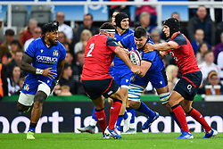 Sebastian Negri of Italy is tackled by Jamie George of England<br /> <br /> Photographer Craig Thomas/Replay Images<br /> <br /> Quilter International - England v Italy - Friday 6th September 2019 - St James' Park - Newcastle<br /> <br /> World Copyright © Replay Images . All rights reserved. info@replayimages.co.uk - http://replayimages.co.uk