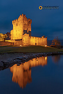 Historic Ross Castle at dusk in Killarney National Park, Ireland