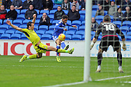 Cardiff City's Kadeem Harris © crosses the ball for Craig Noone to score a goal (out of shot). EFL Skybet championship match, Cardiff city v Rotherham Utd at the Cardiff city stadium in Cardiff, South Wales on Saturday 18th February 2017.<br /> pic by Carl Robertson, Andrew Orchard sports photography.