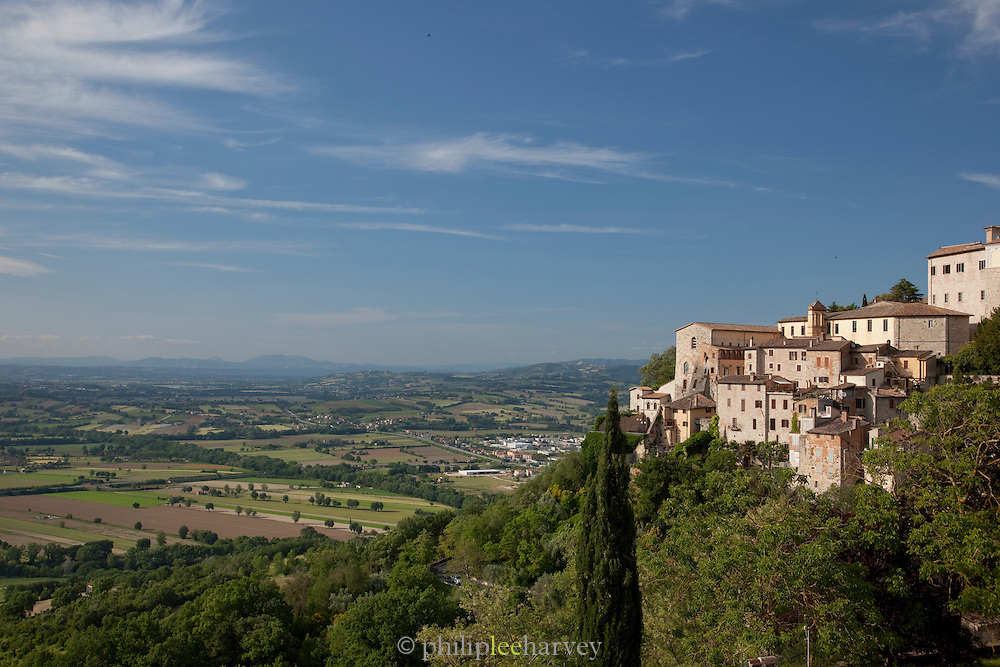 The hilltop village of Todi, in Umbria, Italy