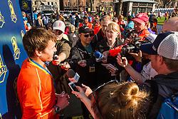 Boston Marathon: BAA 5K road race, Ben True interviewed by media after victory