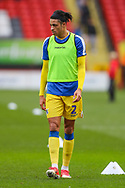 Bristol Rovers defender Daniel Leadbitter (2) warms up prior to the EFL Sky Bet League 1 match between Charlton Athletic and Bristol Rovers at The Valley, London, England on 24 November 2018.
