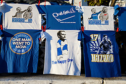 "Chelsea shirts are sold outside the ground including a ""Happy One"" version depicting Chelsea Manager Jose Mourinho - Photo mandatory by-line: Rogan Thomson/JMP - 18/03/2014 - SPORT - FOOTBALL - Stamford Bridge, London - Chelsea v Galatasaray - UEFA Champions League Round of 16 Second leg."