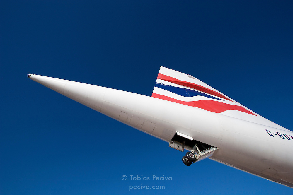 The tail of a British Airways Concorde airliner on display at the Intrepid Sea, Air & Space Museum in Manhattan, New York.