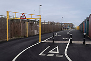 A landscape of a cycling lane markings and a maximum height barrier, on 3rd May 2021, in St Leonards, Sussex, England.