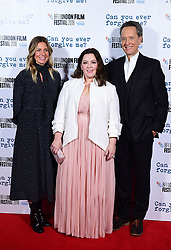 Amy Nauiokas, Melissa McCarthy and Richard E. Grant attend the Can You Ever Forgive Me screening at Cineworld Leicester Square during the 62nd BFI London Film Festival.