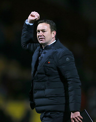 Plymouth Argyle manager Derek Adams celebrates after the final whistle