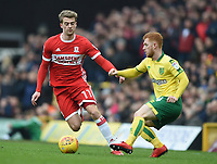 Middlesbrough's Patrick Bamford battles with Norwich's Harrison Reed <br /> <br /> Photographer Jon Hobley/CameraSport<br /> <br /> The EFL Sky Bet Championship - Norwich City v Middlesbrough - Saturday 3rd February 2018 - Carrow Road - Norwich<br /> <br /> World Copyright © 2018 CameraSport. All rights reserved. 43 Linden Ave. Countesthorpe. Leicester. England. LE8 5PG - Tel: +44 (0) 116 277 4147 - admin@camerasport.com - www.camerasport.comMiddlesbrough's Patrick Bamford, Harrison Reed <br /> <br /> Photographer Jon Hobley/CameraSport<br /> <br /> The EFL Sky Bet Championship - Norwich City v Middlesbrough - Saturday 3rd February 2018 - Carrow Road - Norwich<br /> <br /> World Copyright © 2018 CameraSport. All rights reserved. 43 Linden Ave. Countesthorpe. Leicester. England. LE8 5PG - Tel: +44 (0) 116 277 4147 - admin@camerasport.com - www.camerasport.com