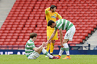 19/04/15 WILLIAM HILL SCOTTISH CUP SEMI-FINAL<br /> INVERNESS CT v CELTIC<br /> HAMPDEN - GLASGOW<br /> Celtic's Nir Bitton (right) helps team-mate Stefan Johansen to his feet at full-time