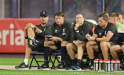 NEW YORK, NEW YORK, USA - Wednesday, July 24, 2019: Liverpool's manager Jürgen Klopp with staff assistant manager Peter Krawietz, first-team development coach Pepijn Lijnders and goalkeeping coach John Achterberg during a friendly match between Liverpool FC and Sporting Clube de Portugal at the Yankee Stadium on day nine of the club's pre-season tour of America. (Pic by David Rawcliffe/Propaganda)