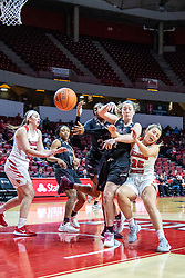 NORMAL, IL - February 27: Jasmine Franklin, Abby Hipp and Lexi Wallen all lose control of a ball as it bounds towards the baseline during a college women's basketball game between the ISU Redbirds and the Bears of Missouri State February 27 2020 at Redbird Arena in Normal, IL. (Photo by Alan Look)