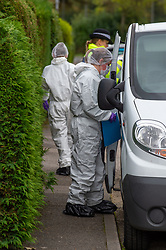 © Licensed to London News Pictures. 29/10/2019. Beaconsfield, UK. A Forensic investigator at a property in Hyde Green, Beaconsfield. Thames Valley Police have launched an investigation after the death of a woman. A 44-year-old man from Beaconsfield has been arrested on suspicion of murder. Photo credit: Peter Manning/LNP