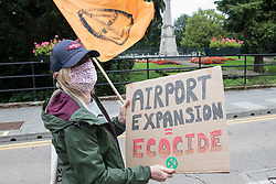 Climate activists from Extinction Rebellion attend a protest against the expansion of Stansted Airport on 29 August 2020 in Bishop's Stortford, United Kingdom. The activists are calling on Manchester Airports Group to withdraw their appeal, for which planning permission was previously refused by Uttlesford District Council, to be able to expand Stansted Airport from a maximum of 35 million to 43 million passengers a year, as well as calling on the Government to halt all airport expansion in order to maintain its commitments under the Paris Agreement.