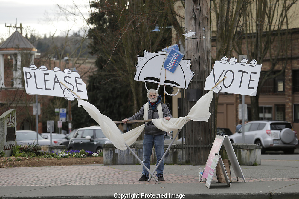 Democratic presidential candidate Sen. Bernie Sanders, I-Vt. on day of the Washington State primary, Tuesday, March 10, 2020, in Seattle. (AP Photo/John Froschauer)