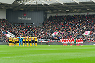 A minutes applause for Gordon Banks before the The FA Cup 5th round match between Bristol City and Wolverhampton Wanderers at Ashton Gate, Bristol, England on 17 February 2019.
