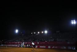 May 3, 2018 - Estoril, Portugal - Nicolas Jarry serves to Ricardo Ojeda Lara during the Millennium Estoril Open tennis tournament in Estoril, outskirts of Lisbon, Portugal on May 1, 2018  (Credit Image: © Carlos Costa/NurPhoto via ZUMA Press)
