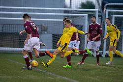 Falkirk's Joe McKee scoring their second goal. Half time : Stenhousemuir 2 v 2 Falkirk, 3rd Round of the William Hill Scottish Cup played 24/11/2018 at Ochilview Park, Larbert.