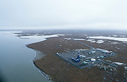 Alaska. Badami oil development. Located approx. 35 miles west of ANWR. Aerial view to east. Arctic Ocean to north.