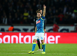 October 24, 2018 - Paris, France - Paris Saint-Germain - SSC Napoli : UEFA Champions League Group C .Dries Mertens of Napoli greeting the supporters after the goal of 1-2 scored at Parc des Princes in Paris, France on October 24, 2018. (Credit Image: © Matteo Ciambelli/NurPhoto via ZUMA Press)
