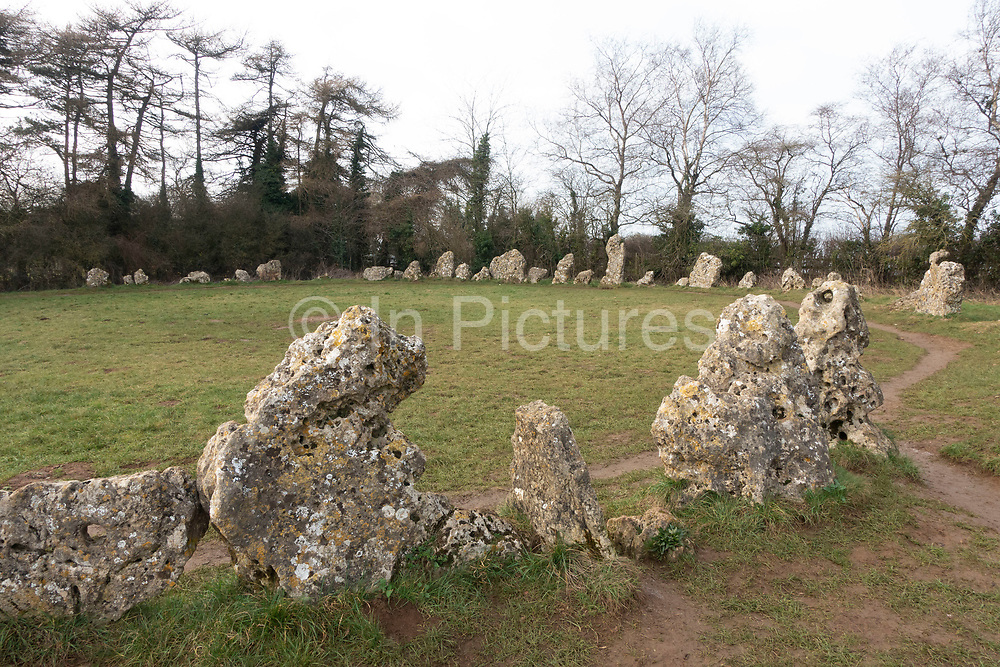 The Kings Men, part of the Rollright Stones, a complex of three Neolithic and Bronze Age megalithic monuments near the village of Long Compton, England, United Kingdom. Constructed from local oolitic limestone, the three monuments now known as the Kings Men and the Whispering Knights in Oxfordshire and the King Stone in Warwickshire, are distinct in their design and purpose, and were built at different periods in late prehistory. The stretch of time during which the three monuments were erected bears witness to a continuous tradition of ritual behaviour on sacred ground, from the 4th to the 2nd millennium BCE.