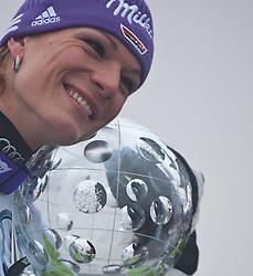 19.03.2011, Pista Silvano Beltrametti, Lenzerheide, SUI, FIS Ski Worldcup, Finale, Lenzerheide, PODIUM, im Bild Gesamtweltcup Siegerin, Damen, Maria Riesch (GER) // Overall Weltcup Winner, Women, Maria Riesch (GER) during Podium, at Pista Silvano Beltrametti, in Lenzerheide, Switzerland, 19/03/2011, EXPA Pictures © 2011, PhotoCredit: EXPA/ J. Feichter