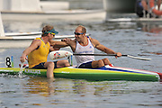 Shunyi, CHINA. Great Britain's,  Saturdays  Men's Kayak single [K1] 500m, final, AUS Ken WALLACE, is congratulated by GBR K1 Tim BRABANTS.  at the 2008 Olympic Canoe/Flatwater Racing, Shunyi Rowing-Canoeing Course. Saturday - 23/08/2008,  [Mandatory Credit: Peter SPURRIER, Intersport Images]