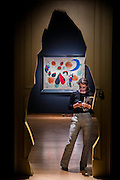 The doorway to the Surrealist art room and Joan Miró's L'oiseau au plumage déployé vole vers l'arbre argenté, 1953 - Christie's Impressionist, Modern and Surrealist Art pre-sale exhibition ahead of the Evening sale on 4 February. Highlights include: Cézanne's Vue sur L'Estaque et Le Château d'If, from the collection of Samuel Courtauld, which is coming to the market for the first time since it was acquired 79 years ago, in 1936 (estimate: £8-12 million); The most valuable group of Surrealist art ever to be offered at auction, featuring a group of works by Magritte and Miró, led by Joan Miró's L'oiseau au plumage déployé vole vers l'arbre argenté, 1953, from a Distinguished European Collection (estimate: £7-9 million); Amedeo Modigliani's rare double portrait Les deux filles, 1918 (estimate: £6-8 million); Femme de Venise V by Alberto Giacometti (estimate: £6-8 million); Juan Gris's La Lampe, 1914, which is considered to be among the artist's greatest contributions to Cubism (estimate: £2.5-3.5 million); Paysage à L'Estaque, 1907, by Georges Braque (estimate: £2-3 million); An important group of German works from the collection of industrial chemist Carl Hagemann, representing three of the four founding artists of the Die Brücke movement, led by one of the masterpieces of Die Brücke art: Badende am Waldteich by Erich Heckel, along with key works by Ernst Ludwig Kirchner and Karl Schmidt-Rottluff; and other important works by Chagall, Moore, Picabia, Arp, Ernst, Tanguy and Dominguez. The auction has a total pre-sale estimate of £92.8 million-£133.8 million. Christie's, King Street, London, UK.