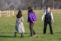 © Licensed to London News Pictures. 07/03/2021. London, UK. Police patrol Richmond Park as they warn walkers not to crowd the deer this afternoon ahead of stage1 easing of lockdown which comes into force tomorrow. From Monday, 8th March 2021 two friends will be allowed to socialise out side of their household for a coffee or picnic for the first time in months. England will begin Stage1 of the easing of lockdown tomorrow, with children returning to school, care homes allowing a visitor and friends being allowed to socialise out side of their bubble. However, pubs, shops and restaurants will still remain closed. Photo credit: Alex Lentati/LNP