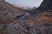 Dusk falls over Arrowhead Lake in Popo Agie Wilderness, Wind River Range, Wyoming.
