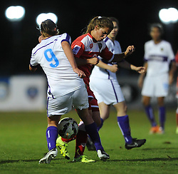 Tatiana Pinto of Bristol Academy challenges for the ball with Oxford United's Lauren Allison - Mandatory byline: Dougie Allward/JMP - 07966386802 - 27/08/2015 - FOOTBALL - Stoke Gifford Stadium -Bristol,England - Bristol Academy Women FC v Oxford United Women - FA WSL Continental Tyres Cup