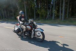 Cris Sommer Simmons riding her 1934 Harley-Davidson VD during Stage 16 (142 miles) of the Motorcycle Cannonball Cross-Country Endurance Run, which on this day ran from Yakima to Tacoma, WA, USA. Sunday, September 21, 2014.  Photography ©2014 Michael Lichter.