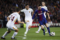 April 4, 2018 - Barcelona, Catalonia, Spain - April 4, 2018 - Barcelona, Spain - Uefa Champions League Quarter final first leg, FC Barcelona v AS Roma: Leo Messi of FC Barcelona dribbles Diego Perotti of Roma. (Credit Image: © Marc Dominguez via ZUMA Wire)