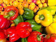 """Fresh red, yellow and green bell peppers (peperone or capsicum) are sold at Rialto Produce Markets. Venice (Venezia) is the capital of Italy's Veneto region, named for the ancient Veneti people from the 10th century BC. The romantic """"City of Canals"""" stretches across 117 small islands in the marshy Venetian Lagoon along the Adriatic Sea in northeast Italy, Europe. The Republic of Venice wielded major sea power during the Middle Ages, Crusades, and Renaissance. Venice and the Venetian Lagoon are honored on UNESCO's World Heritage List."""