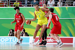 Australia's Elizabeth Cambage (centre) in action in the Women's Gold Medal Game at the Gold Coast Convention and Exhibition Centre during day ten of the 2018 Commonwealth Games in the Gold Coast, Australia.