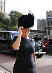 Sophie, Countess of Wessex arrives ahead of the wedding of Princess Eugenie to Jack Brooksbank at St George's Chapel in Windsor Castle