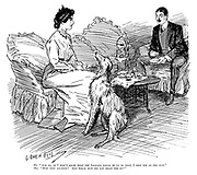 "He. ""And so, as I didn't know what the Leopard would be up to next, I shot him on the spot."" She. ""How very exciting! And which spot did you shoot him on?"" (an Edwardian cartoon about colonial era hunting and middle class wives)"