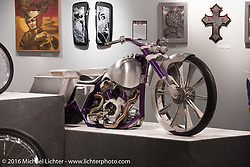 Chris Eder's Misfit custom S&S X-Wedge 132 ci bagger in Michael Lichter's Skin & Bones tattoo inspired Motorcycles as Art show at the Buffalo Chip Gallery during the annual Sturgis Black Hills Motorcycle Rally. SD, USA. August 10, 2016. Photography ©2016 Michael Lichter.