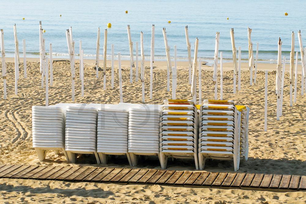 Portuguese Summer. Beach chairs at Praia da Luz in Algarve.