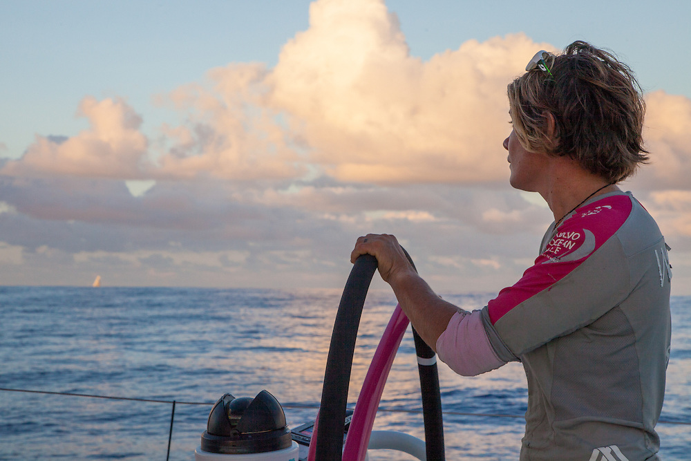 April 24, 2015. Leg 6 to Newport onboard Team SCA. Day 5. Liz Wardley keeps an eye on Team Brunel to windward as Team SCA and Team Brunel play a game of cat and mouse.