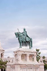 Statue of Saint Stephen, Fishermans Bastion in background, Budapest, Hungary