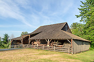 The Pole Barn at the historic Stewart Farm in Elgin Heritage Park in Surrey, British Columbia, Canada. The Pole Barn was built around 1900 on the Stewart Farm and is one of the last surviving barns of this kind.