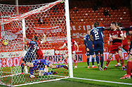 GOAL 1-0 Aberdeen defender Tommie Hoban (3) scores a goal 1-0 and celebrates, celebration during the Scottish Premiership match between Aberdeen and Hamilton Academical FC at Pittodrie Stadium, Aberdeen, Scotland on 20 October 2020.