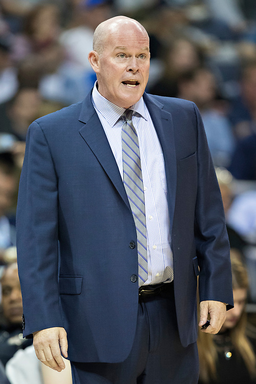 MEMPHIS, TN - OCTOBER 30:  Head Coach Steve Clifford of the Charlotte Hornets watches play during a game against the Memphis Grizzlies at the FedEx Forum on October 30, 2017 in Memphis, Tennessee.  NOTE TO USER: User expressly acknowledges and agrees that, by downloading and or using this photograph, User is consenting to the terms and conditions of the Getty Images License Agreement.  The Hornets defeated the Grizzlies 104-99.  (Photo by Wesley Hitt/Getty Images) *** Local Caption *** Steve Clifford